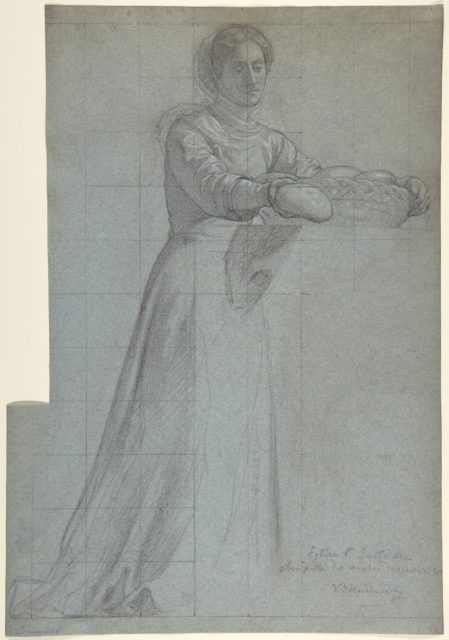 "A Woman Distributing Bread from a Basket: Study for ""Feed the Hungry,"" in the Chapel of the Seven Corporal Works of Mercy (Les Oeuvres de Miséricorde), Church of Saint-Eustache, Paris"