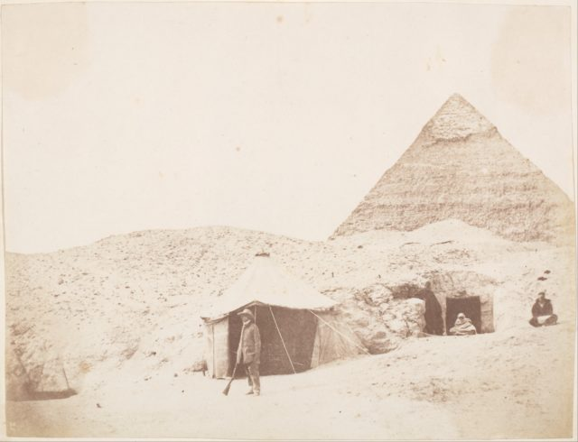 [The Photographer before his Tent on the Site of the Pyramid of Khafre (Chephren)]