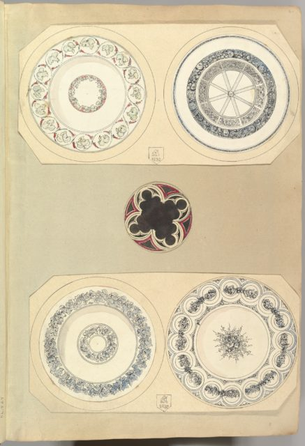 Four Designs for Decorated Plates and a Quatrefoil Rondel