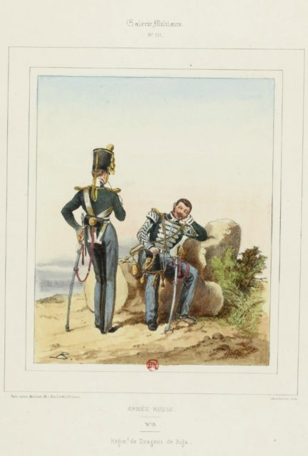 Riga Dragoons. The military uniform of the Russian army in 1852.