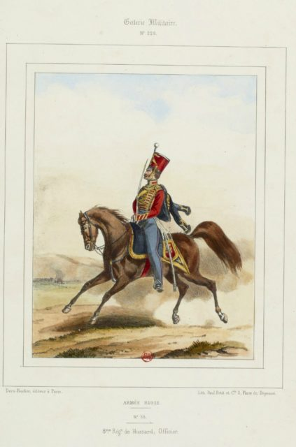 Hussar officer. The military uniform of the Russian army in 1852.