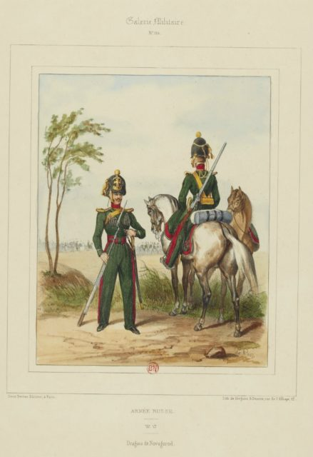 Novgorod dragoons. The military uniform of the Russian army in 1852.