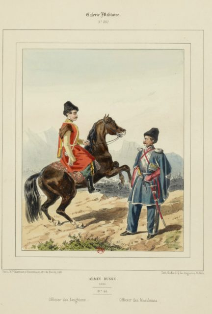 The military uniform of the Russian army in 1852.