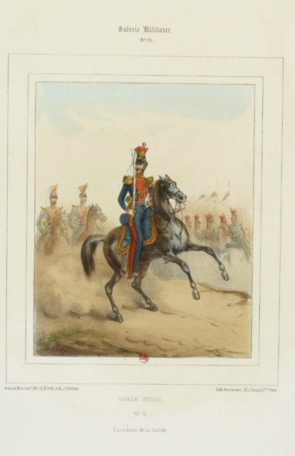 Horse Guards. The military uniform of the Russian army in 1852.