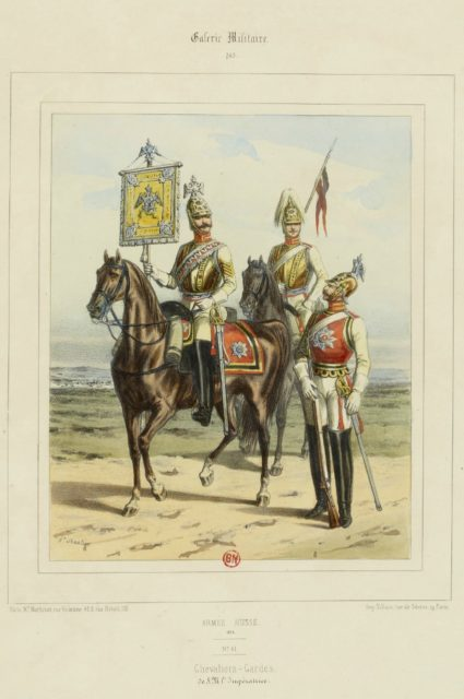 The military uniform of the Russian army in 1852. Cavalry Guards.