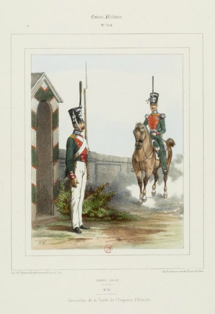 The military uniform of the Russian army in 1852. Grenadiers.