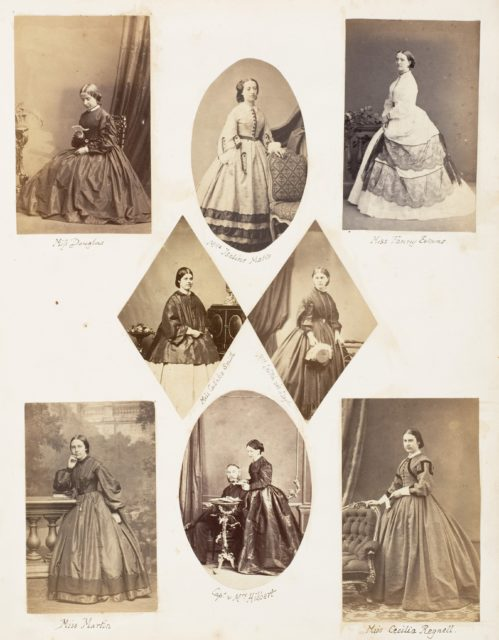 Miss Douglas; Mlle Isaline Motte; Miss Fanny Evans; Miss Catinka Smith; Mrs Leitch née Lloyd; Miss Martin; Capt. & Mrs Hibbert; Miss Cecilia Regnell
