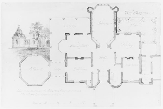 Whitby, William P. Chapman House, Rye, New York (plan and partial elevation)