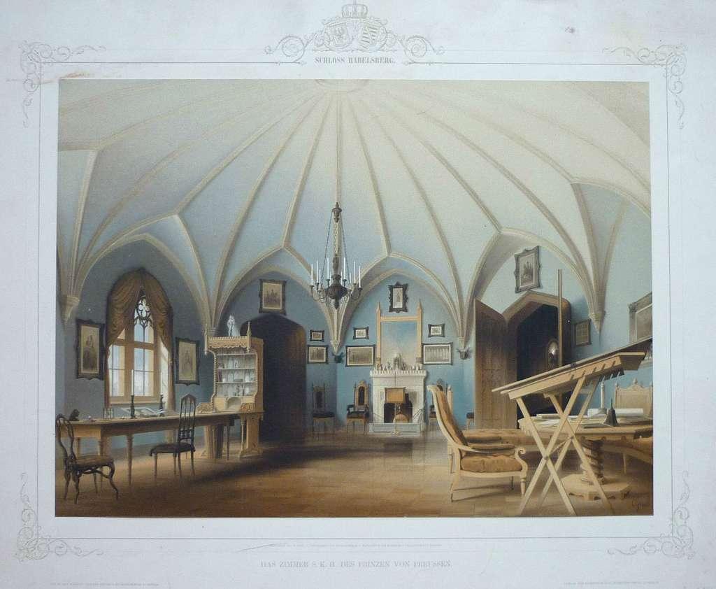 Graeb, Carl - Schloss Babelsberg. Das Zimmer S. K. H. des Prinzen von Preußen. 1853
