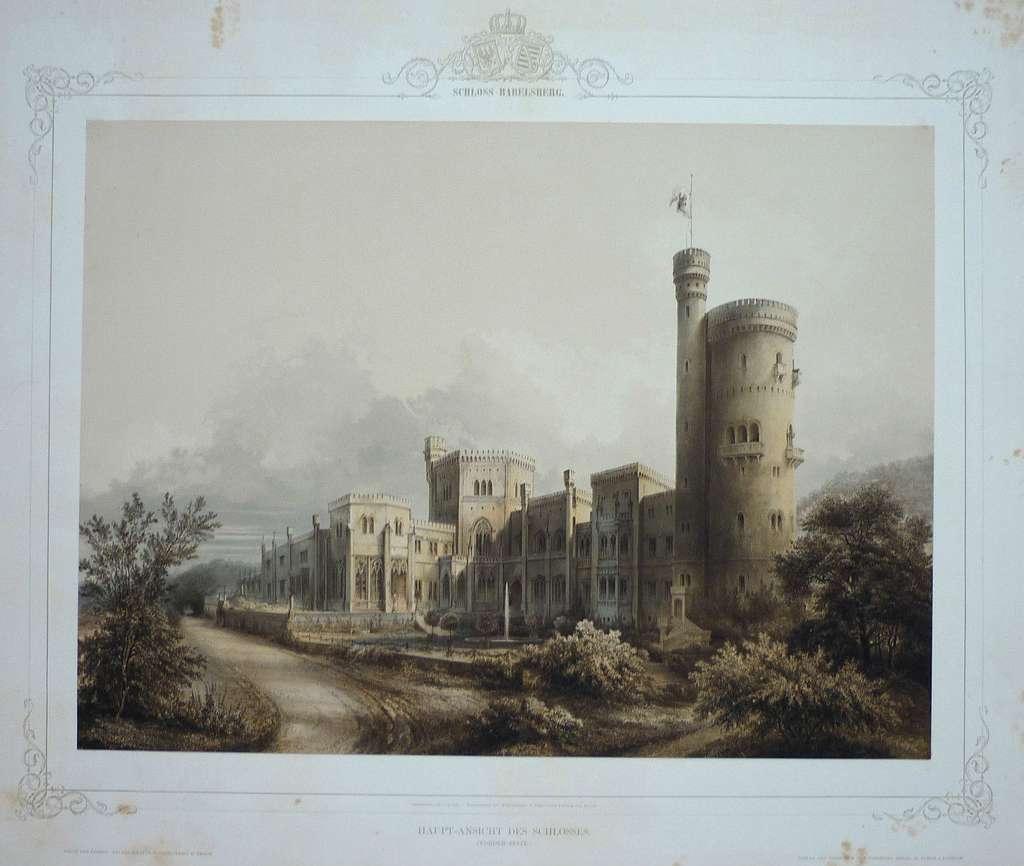Graeb, Carl - Schloss Babelsberg. Haupt-Ansicht des Schlosses (Vorder-Seite). 1853