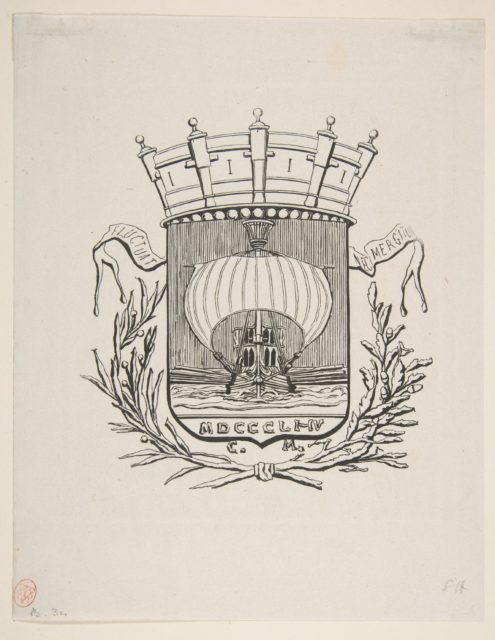 Coat-of-Arms Symbolic of the City of Paris with the motto: It Rocks But Does Not Sink
