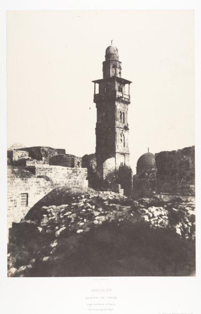 Jérusalem, Enceinte du Temple, Angle Nord-Ouest et minaret élevé en l'an 697 de l'Hégire
