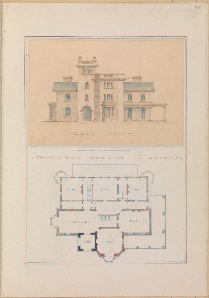 West Front and Principal Floor Plan of John Munn House, Utica, New York