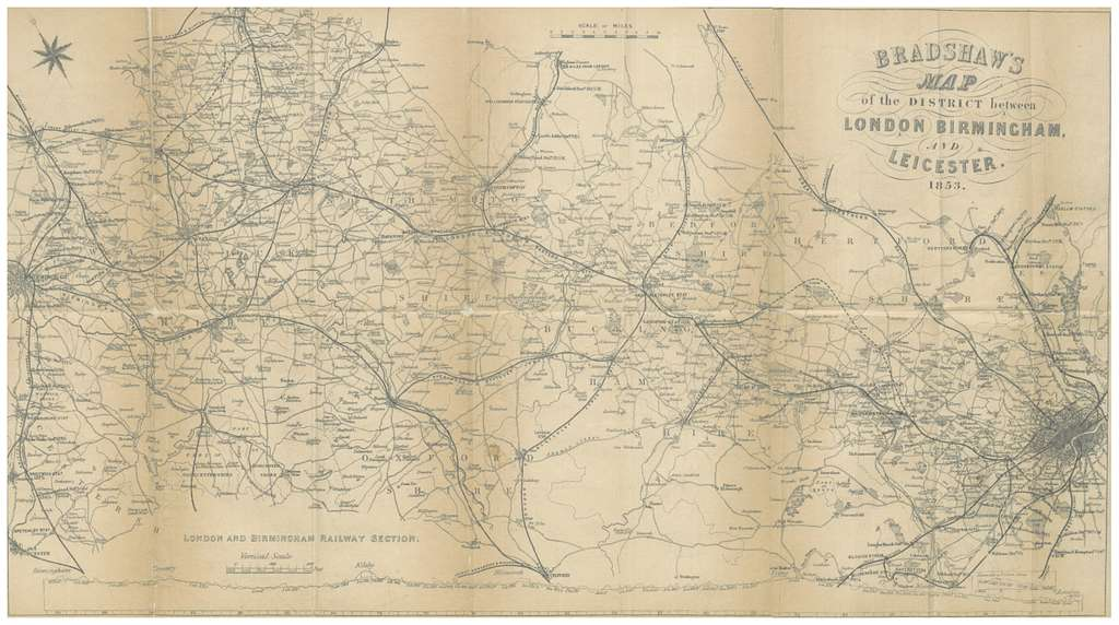 BRADSHAW(1854) p184 MAP OF THE DISTRICT BETWEEN LONDON, BIRMINGHAM AND LEICESTER