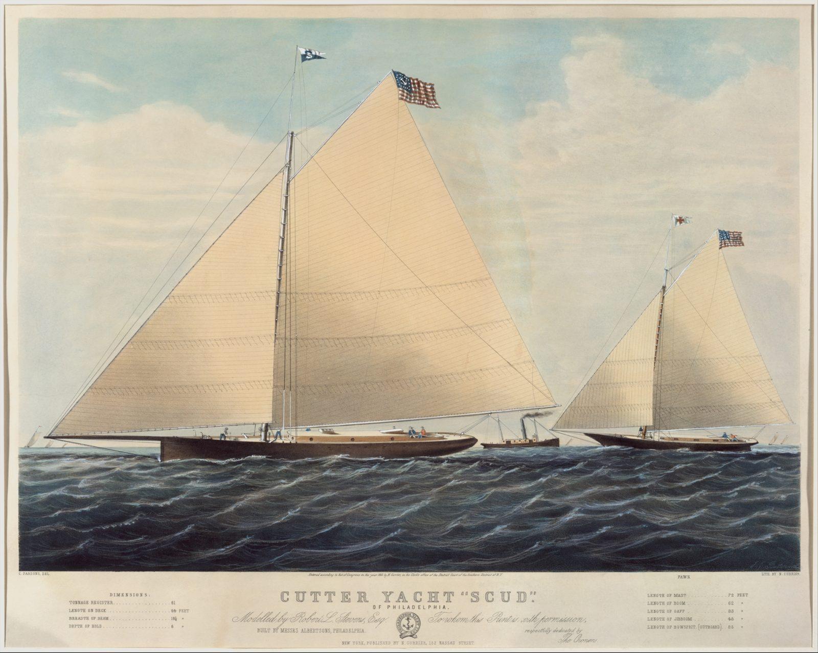 "Cutter Yacht ""Scud"" of Philadelphia – Modelled by Robert L. Stevens, Esq."