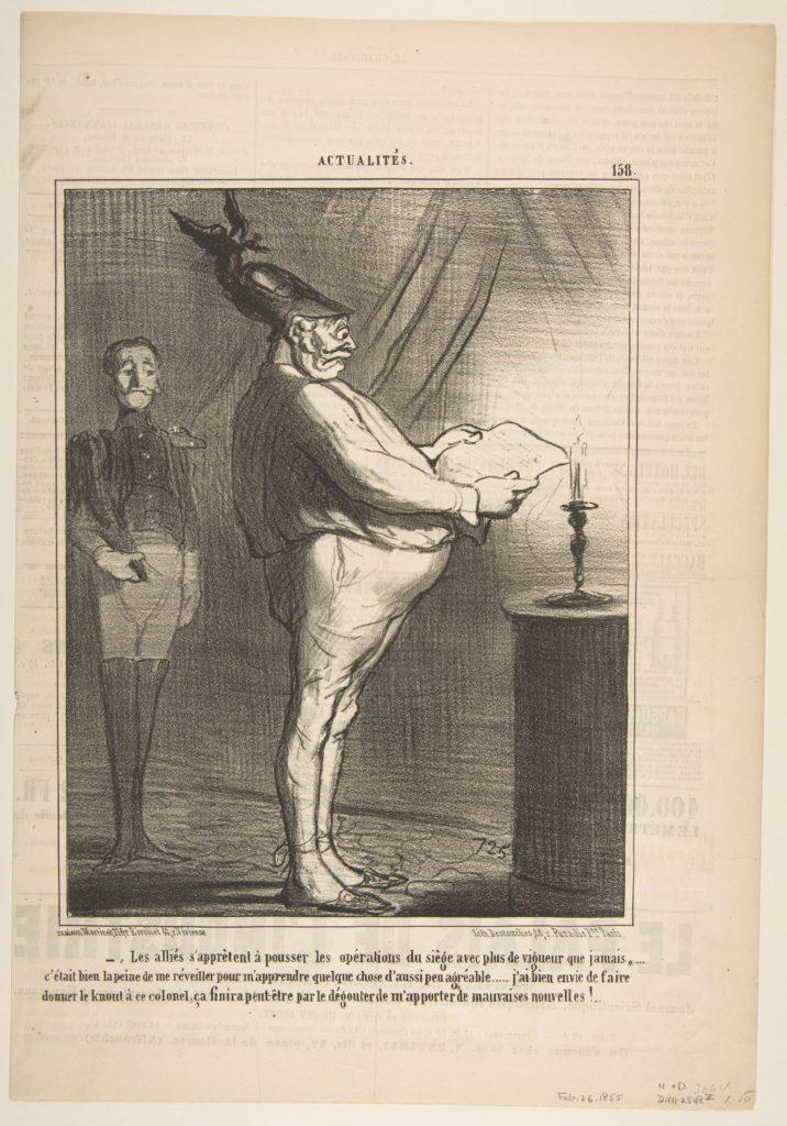 Les allies s'apprètent à pousser les opérations du siège avec plus de vigueur que jamais…, from Actualités, published in Le Charivari, February 26, 1855