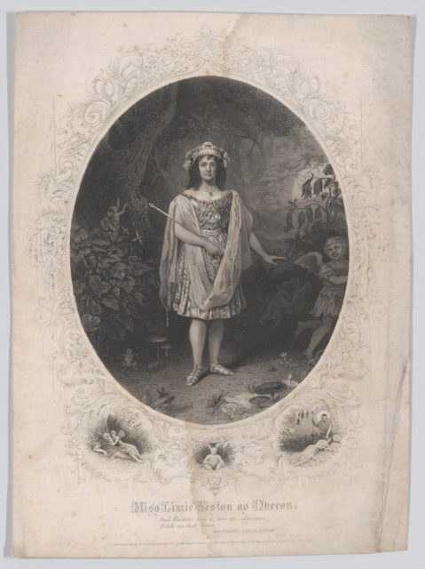 "Miss Lizzie Weston as Oberon: ""And Maidens call it, love in idleness. Fetch me that flower"" (Midsummer Night's Dream, Act 2, Scene 2)"