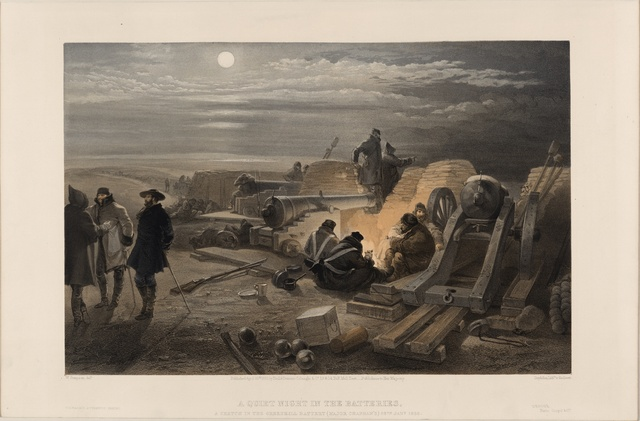 A quiet night in the batteries - a sketch in the Greenhill battery (Major Chapman's), 29th Jany. 1855