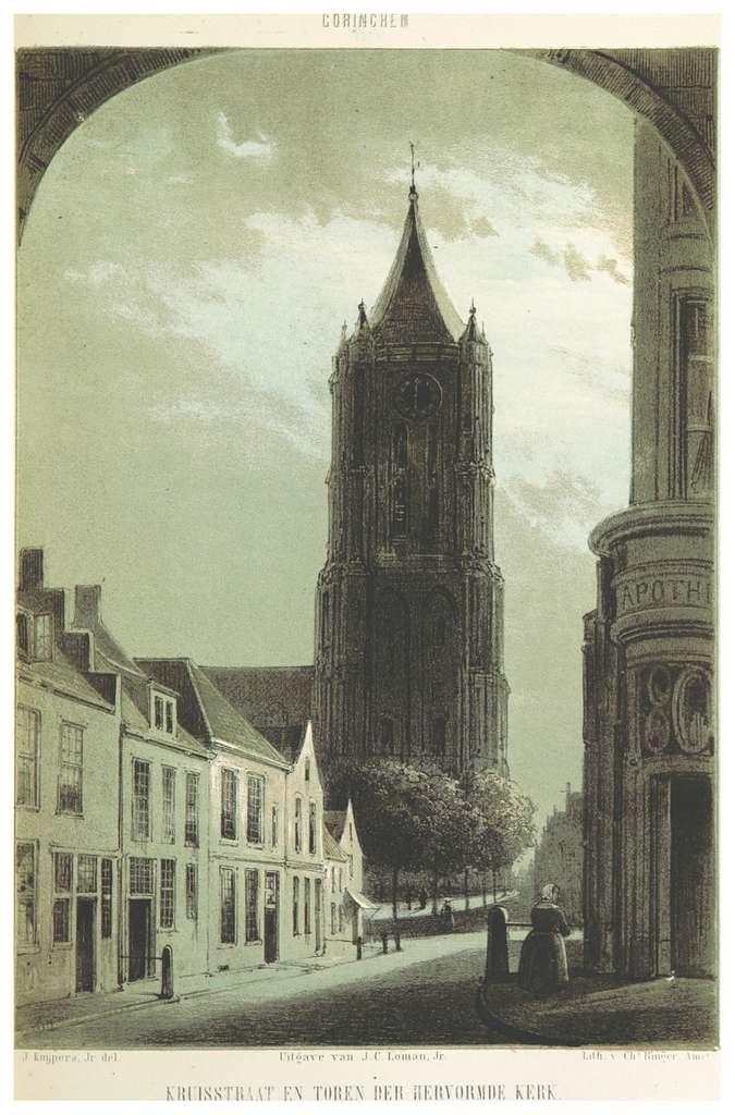 AA(1855) p073 GORINCHEM, Kruisstraat en Toren der Hervormde Kerk