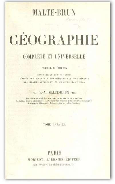 Malte-Brun(1856) Géographie complète et universelle Vol.1