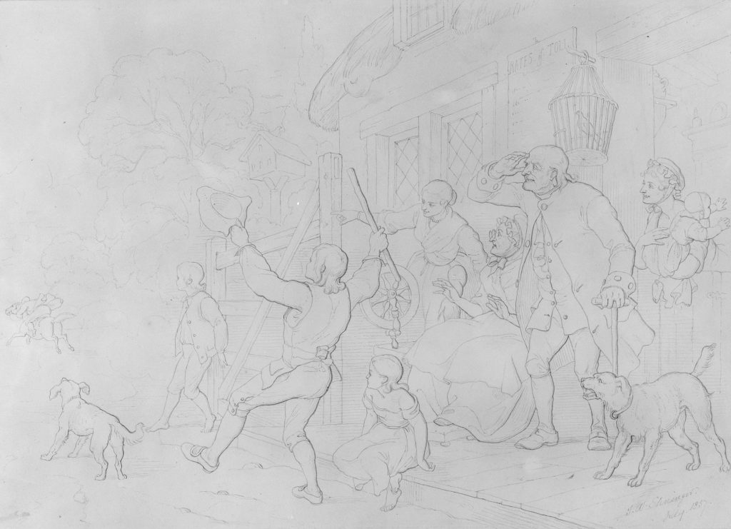 """Illustration to William Cowper's Poem """"The Diverting History of John Gilpin"""": John Gilpin's Neighbors Cheer His Speedy Departure from Town as His Horse Runs Away with Him"""