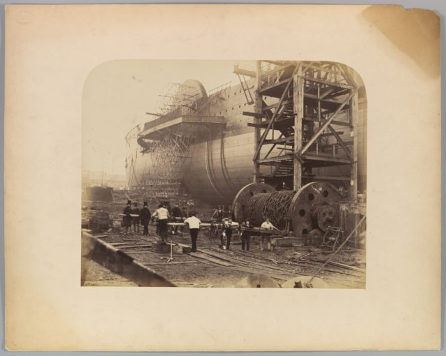 """[Men at Work Beside the Launching Chains of the """"Great Eastern""""]"""