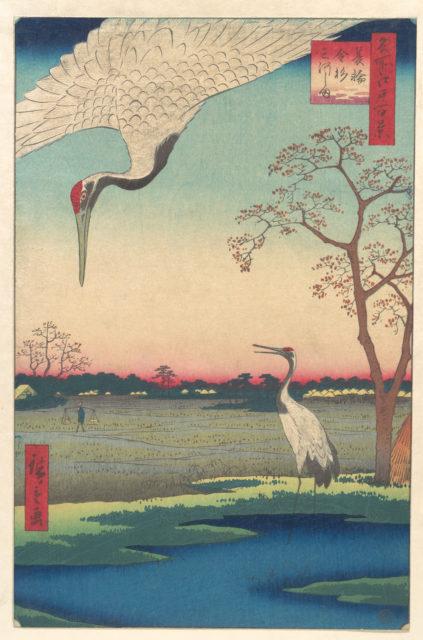 """Minowa, Kanasugi at Mikawashima,"" from the series One Hundred Famous Views of Edo (Meisho Edo hyakkei, Minowa Kanasugi, Mikawashima)"