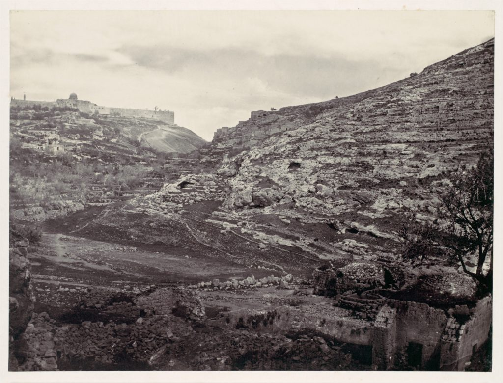 Mount Moriah, Jerusalem, from the Well of En Rogel