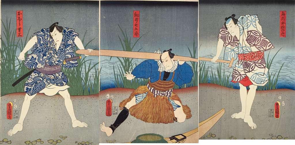 NDL-DC 1311949 Utagawa Kunisada 舟頭水掉の竹・細井七五郎・おほう吉三 cmb