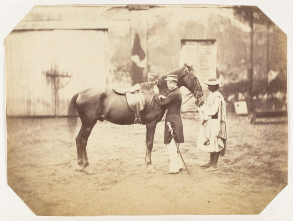 [Captain Stuart and the horse 'Tortoiseshell']