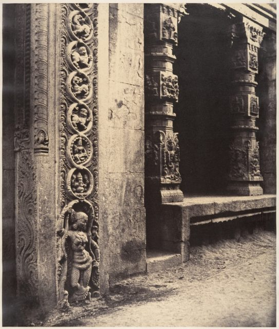 Pillars in the Recessed Portico in the Roya Gopuram with the Base of One of the Four Sculptured Monoliths, Madura