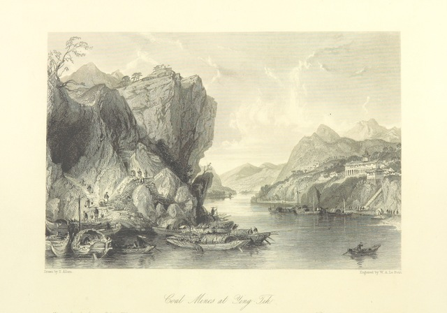 """coal mines from """"[China: in a series of views, displaying the scenery, architecture and social habits of that ancient empire. Drawn ... by T. Allom. With historical and descriptive notices by the Rev. G. N. Wright.]"""""""