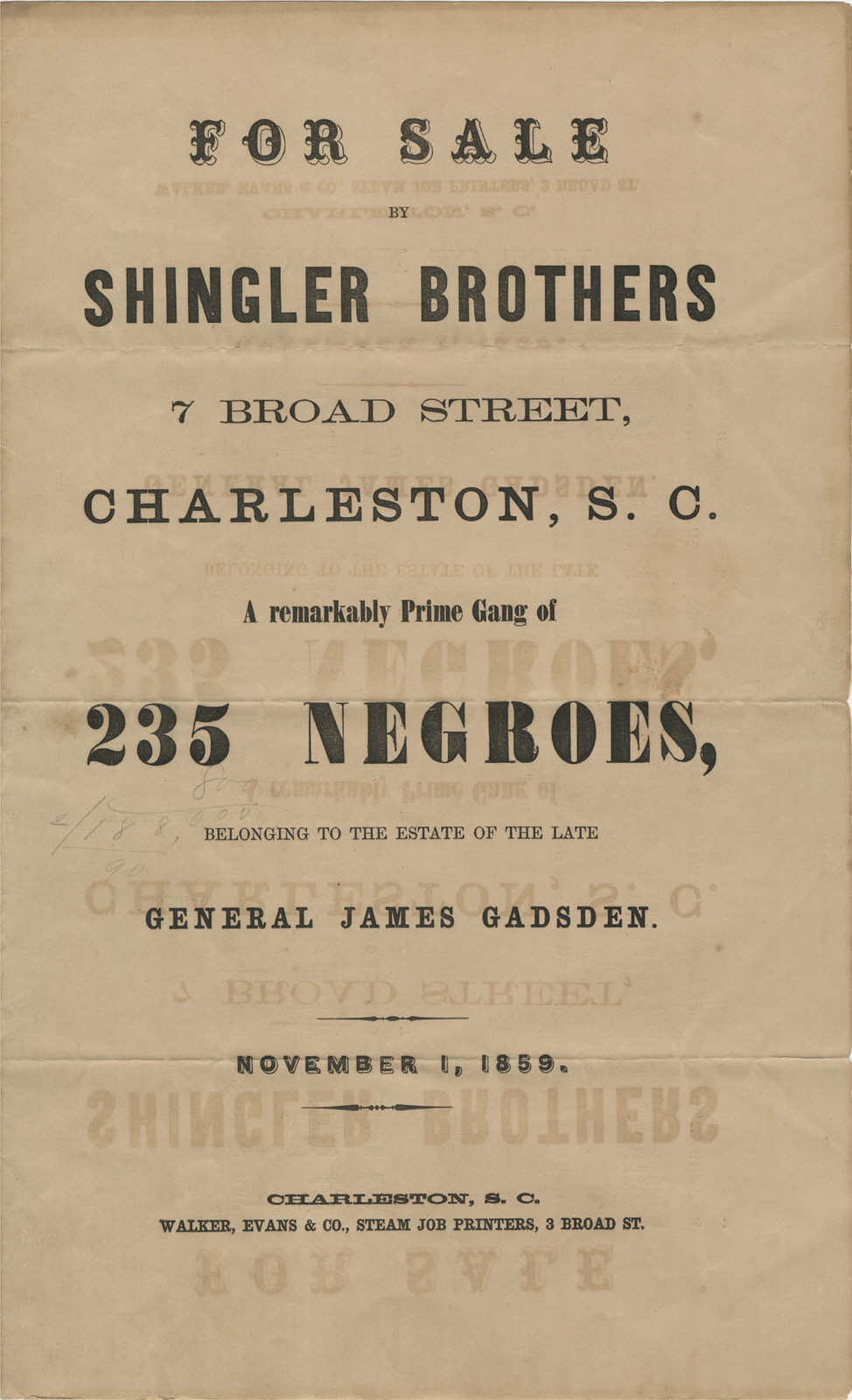 Hutson Lee papers advertising sales of slaves in Charleston in 1859 and 1860
