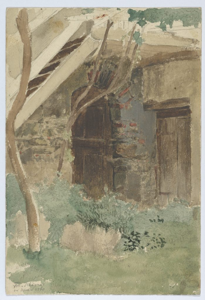 A Wooden Door of a Farm Building near Merano