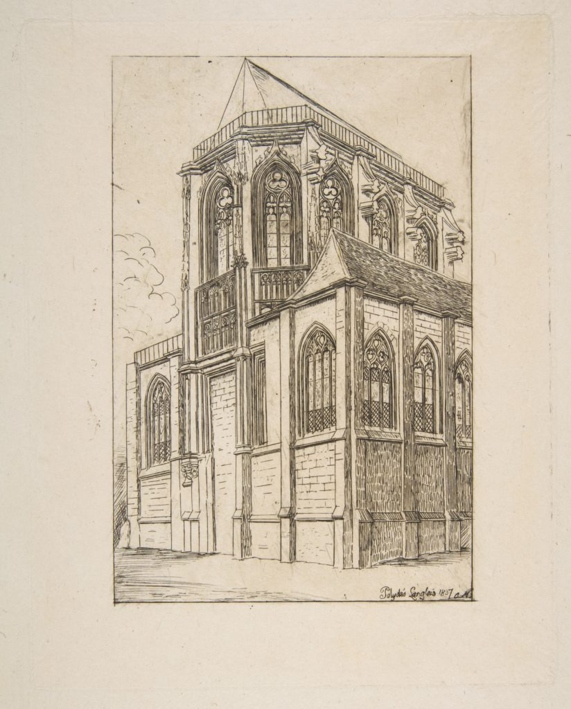 Chevet de St. Martin-sur-Renelle (The apse of the Church of St. Martin-sur-Renelle, Paris, after Langlois)
