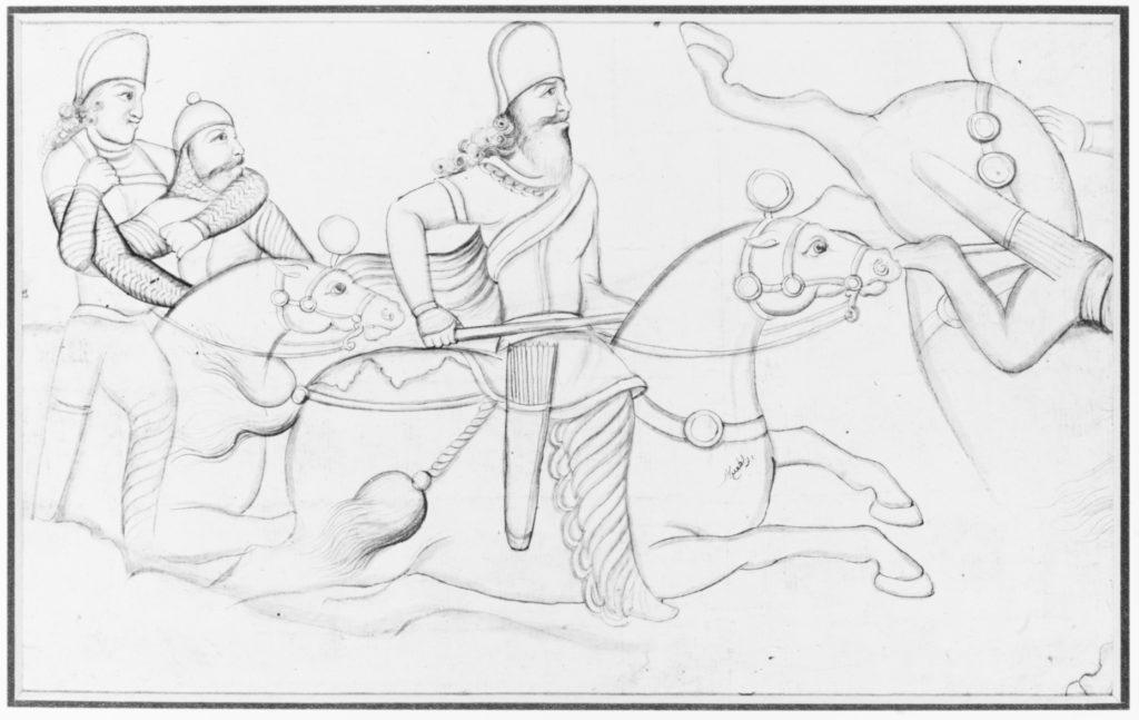 Drawing of Sasanian rock relief