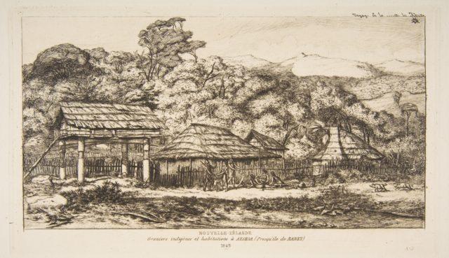 Native Barns and Huts at Akaroa, Banks Peninsula, 1845