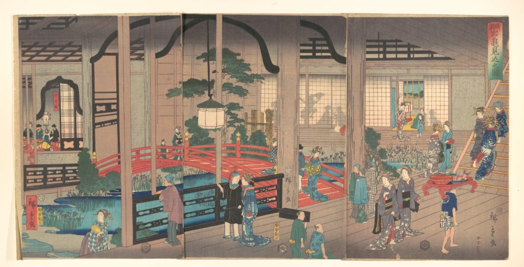 View of the Interior of the Gankirō Tea House in Yokohama