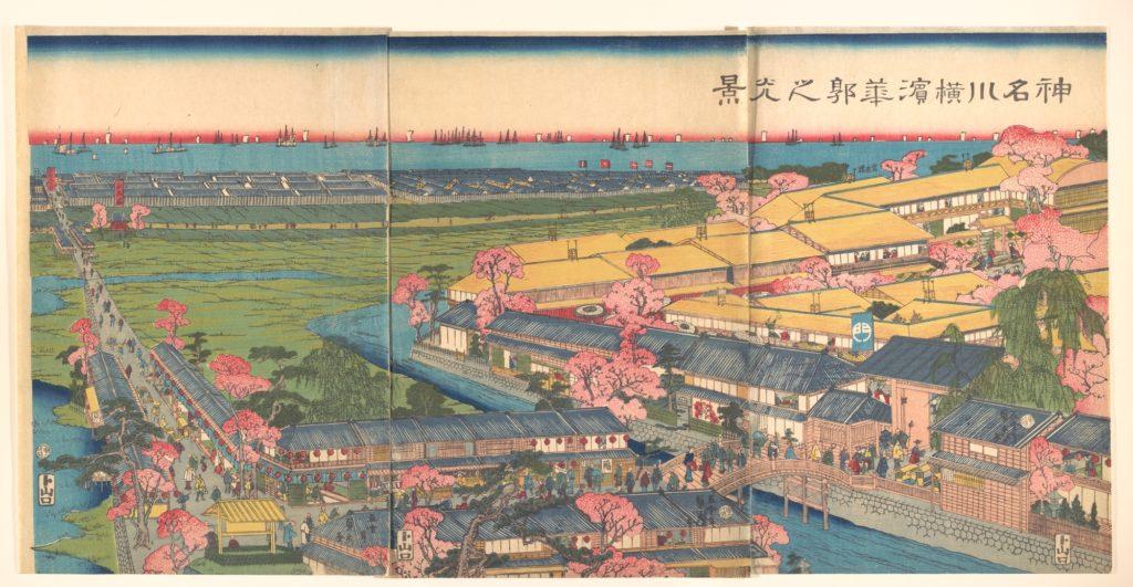 View of the Yokohama Pleasure Quarters of Kanagawa at Cherry Blossom Time