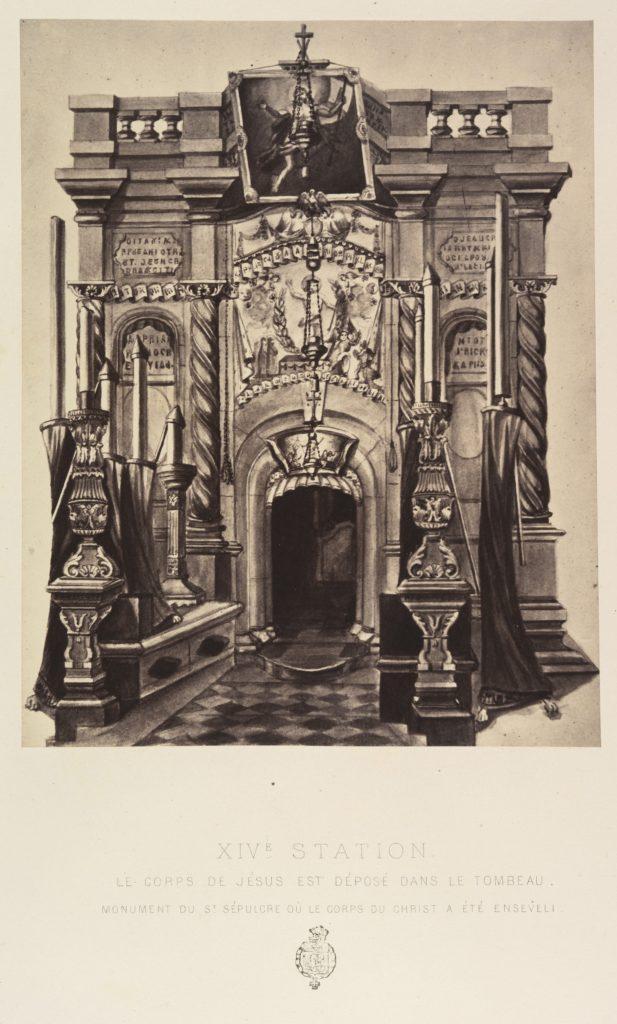 XIVe Station. Le corps de Jésus est deposé dans le tombeau. Monument du St Sépulcre où le corps du Christ a été enseveli.
