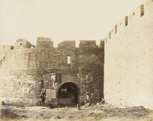 Courtyard with Fortified Walls and Figures