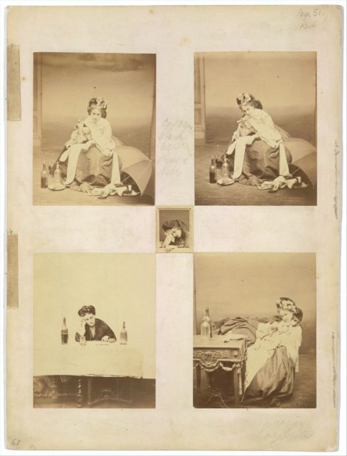 [Album page with ten photographs of La Comtesse mounted recto and verso]