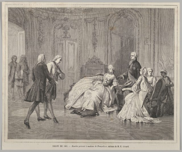 Boucher présenté à Madame de Pompadour (Boucher presented to Madame de Pompadour) from Le Monde Illustré