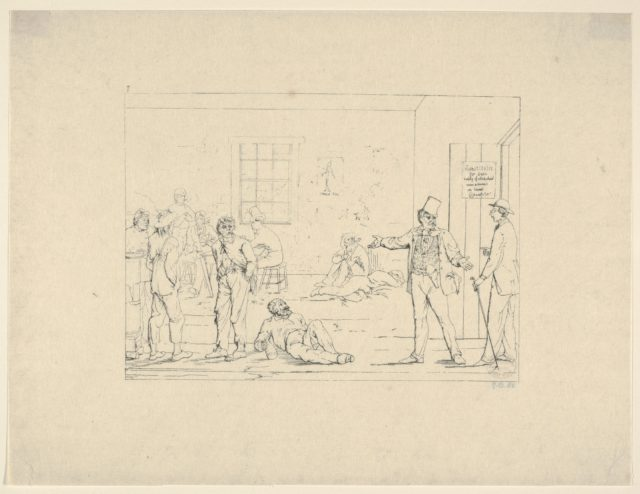 Buying a Substitute in the North during the War (from Confederate War Etchings)