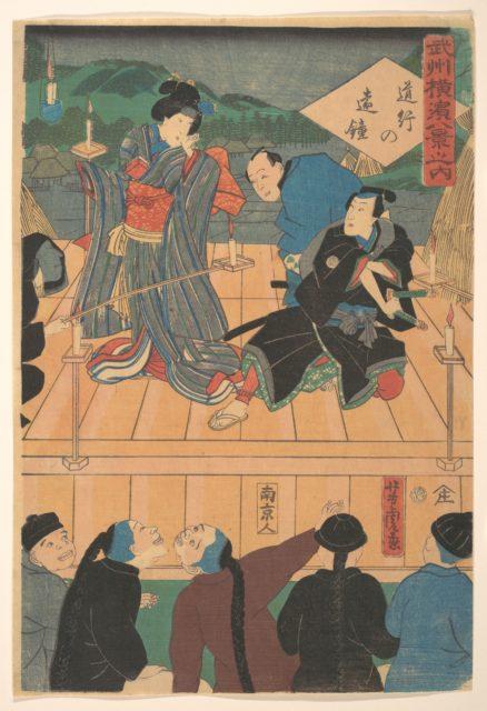 Evening Glow on a Traveling Drama  [Chinese watching a Kabuki play]