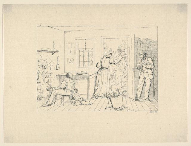 Slaves Concealing their Master from a Search Party (from Confederate War Etchings)