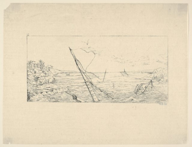 Stone Blockade off Charleston, South Carolina (from Confederate War Etchings)