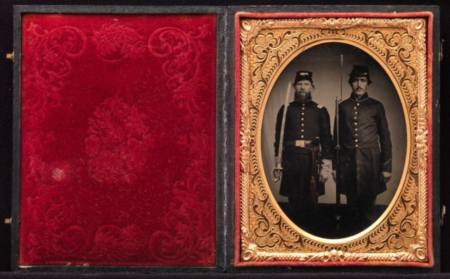 [Union Officer and Private, Standing at Attention, with Sword and Rifle with Fixed Bayonet]