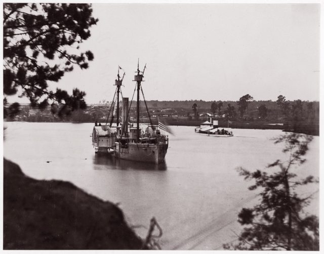 "U.S. Monitor ""Saugus"" and Gunboat ""Mendota"", Appomattox River"