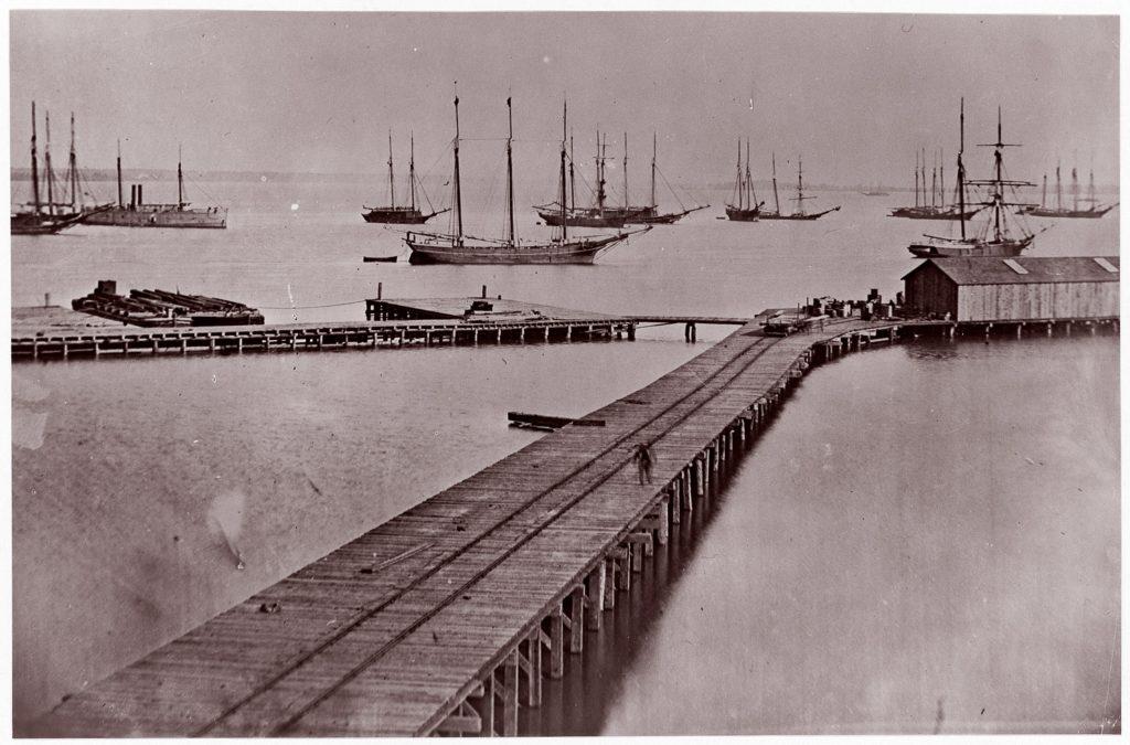[Wharves on the James River, City Point].  Brady album, p. 10